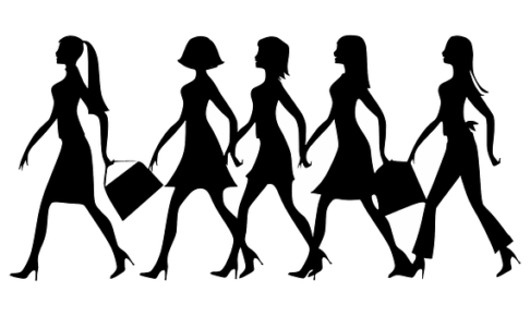 ハイヒールを履く女性のシルエット